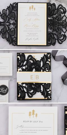 Black and white laser cut wedding invitation with shimmer gold belly band #EWI #circutweddinginvitations #weddinginvtations #classicweddings