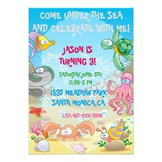 Colorful Ocean Under The Sea Birthday Invitation Turtle Parties Party