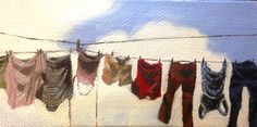 """Line Dry,"" Original Painting, $25, Wall Art,  Spring Cleaning by CarriePill on Etsy"