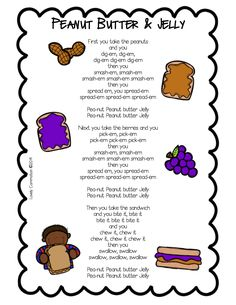 peanut butter and jelly song printable from Lovely Commotion