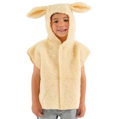 Woolly cute lamb or sheep t-shirt style fancy dress costume for kids with hood and tail Ideal sheep costume for christmas nativity plays One child