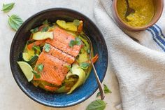 Seared salmon with lemongrass-coconut curry (replace mushroom)