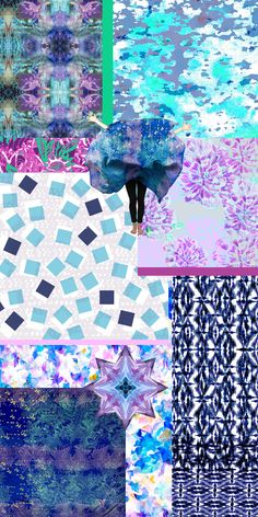 Fresh Picks 4: a collage by Liz Nehdi. Visit http://liznehdi.com/blog/2014/4/30/fresh-picks-4 to see what designers are behind all of these gorgeous patterns. #pattern #print #purple #blue