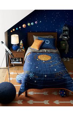 20 Ideas for Kids' Bedroom Themes Boys Space Bedroom, Outer Space Bedroom, Cool Kids Bedrooms, Boy Room, Kids Room, Space Theme Rooms, 4 Year Old Boy Bedroom, Bedroom Themes, Bedroom Decor
