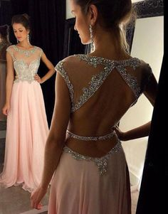 New Arrival Sexy Prom Dress Evening Dresses Sheer Neckline Bling Bling Beaded…