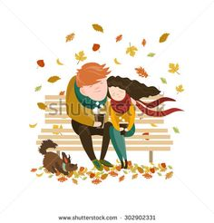 Couple Sitting on Bench and Drink Coffee - Vector Illustration AI, EPS Watercolor Girl, Coffee Illustration, Easy Drawings, Illustration, Drawings, Fantasy Illustration, Mini Canvas Art, Bench Drawing, Autumn Illustration