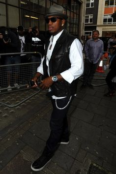 Ne-Yo Wears Lanvin Black and Navy High-top Sneakers in London