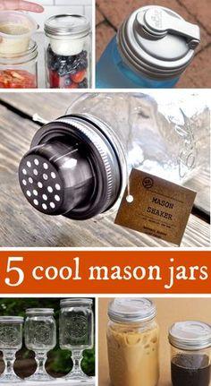 5 cool mason jars // mason jar lids + more