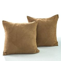 """Amazon.com: Best Dreamcity Heavy Faux Suede Twin Sides Cushion Covers for Living Room (Set of 2, 18"""" x 18"""" - Goldengate): Home & Kitchen"""