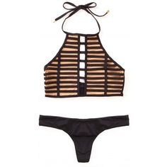 Beach Bunny Swimwear Hard Summer High Neck Halter Cut Out Bikini Top... (2.055 ARS) ❤ liked on Polyvore featuring swimwear, bikinis, bikini tops, tops, high neck tankini top, cut-out bikinis, halter cut out bikini, halter tankini tops and high neck swimsuit top