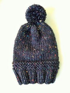Slouchy Knit Pom Pom Hat in Chalkboard by SnowFoxKnits on Etsy