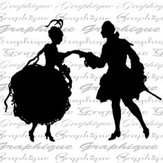Cary Canary — Paper Silhouette 'French Romantic Couple'   (650x650)