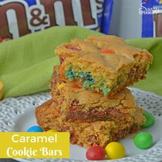 Caramel Cookie Bars are an easy dessert bar recipe using only 5 ingredients and 30 minutes! Soft, easy bar cookies with chocolate and caramel. #dessertbars #magiccookiebars www.savoryexpriments.com