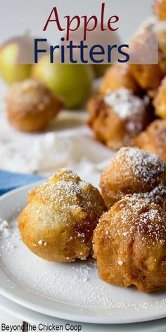 Homemade apple fritters just bursting with bits of apples. These fritters are perfect for making during apple season or whenever you crave something a little sweet. Make these homemade fritters for breakfast, teatime or dessert. Desserts For A Crowd, Winter Desserts, Great Desserts, Party Desserts, Delicious Desserts, Dessert Recipes, Yummy Food, Hot Fudge Cake, Hot Chocolate Fudge