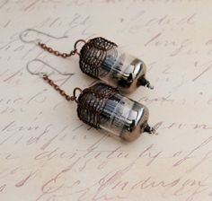 Steampunk Vacuum Tube Earrings  Copper Ox by MadScientistsDesigns, $45.00 #steampunkjewelry #vacuumtubejewelry
