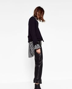 LEATHER-FEEL TROUSERS