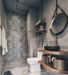 Bathroom Design Small, Bathroom Interior Design, Modern Bathroom, Bathroom Ideas, Bathroom Grey, Small Bathrooms, Bath Design, Bathroom Organization, Boho Bathroom