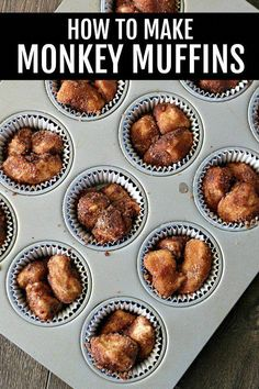 Mini Monkey Muffins are made using refrigerated biscuit dough and dipped in cinnamon and sugar, making each bite delicious! They are a fun breakfast or even dessert and easy enough that kids can make them. Mini Monkey Bread, Monkey Bread Muffins, Cinnamon Roll Monkey Bread, Monkey Bread Cupcakes, Cinnamon Rolls, Canned Biscuits, Refrigerated Biscuit Recipes, Pilsbury Biscuit Recipes, Grand Biscuit Recipes