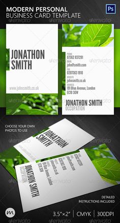 Beautiful Modern Personal Business Card  #GraphicRiver         A beautifully minimal and simple modern business card, made utterly personal with the ability to add your own background image quickly and simply to the design, whilst still retaining a completely clean, elegant look. Clean cut and uniquely customisable, this design is suitable for anyone.    Highly organised Photoshop file  CMYK colours, 300dpi  Detailed instructions included!  Simply replace and resize background with your own…