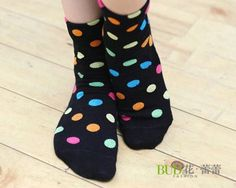 Cute Candy Dots Cotton Media Sock