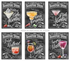 Order your own charming chalkboard style signature drink signs for the rehearsal dinner and wedding. {RockinChalk.com}