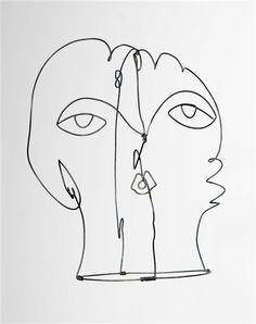 Masque ou Kiki de Montparnasse. Calder, 1929. Kiki De Montparnasse, Alexandre Calder, 6 Photos, Man Ray, Illustrations, Wire Art, 3d Design, Woman Face, Art Reference