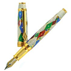 David Oscarson Harlequin Jeweled Collection A one of a kind set of five unique special edition fountain pens, rendered in 18k Yellow Gold and inset with roughly 25 carats of Rubies, Sapphires, Emeralds, and Black and White Diamonds.