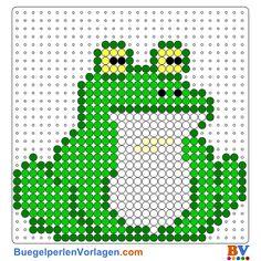 Frosch Bügelperlen Vorlage. Auf buegelperlenvorlagen.com kannst du eine große Auswahl an Bügelperlen Vorlagen in PDF Format kostenlos herunterladen und ausdrucken.