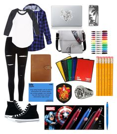 """""""Fandom school"""" by sea-sky-stars ❤ liked on Polyvore featuring River Island, Converse, Vinyl Revolution, Canyon Outback Leather and Cross"""