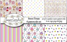 Sweet treats vector pattern tile set by Gaynor Carradice Designs on @creativemarket