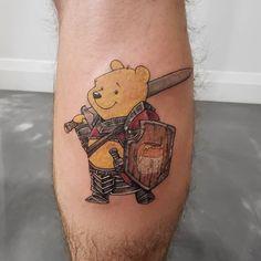Uplifting Winnie the Pooh Tattoos Winnie The Pooh Honey, Winnie The Pooh Friends, Cartoon Design, Cartoon Styles, Piglet Tattoo, Winnie The Pooh Tattoos, Robin Tattoo, Knight Tattoo, Awareness Tattoo