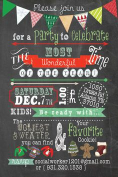 Cookie Ugly Sweater Party Invite by whitneywhatcott on Etsy, $5.00
