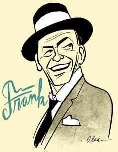 Frank Sinatra / Singer / by Francisco Javier Olea Frank Sinatra Art, 3d Pencil Drawings, Pin Up Style, Caricature, Cool Art, Singer, Illustrations, York, Actors