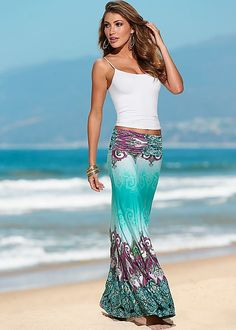 white cami and printed maxi skirt from VENUS