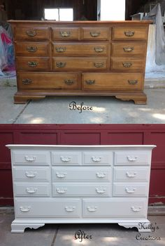 Dresser painted a simple white before and after pictures.  Refinished by Kelly's Creations. https://www.facebook.com/KellysCreationsFurniture