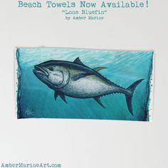 Bluefin Tuna Beach Towel • Watercolor art by Amber Marine ••• AmberMarineArt.com •••