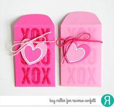 Valentine's Notes by Kay Miller. Reverse Confetti stamp set: Big Notes. Confetti Cuts: Mini Envie. Mini Valentine's favors.