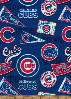 Chicago Cubs - Pennants - MLB Baseball Fabric |100% Cotton|Sold by the half yard