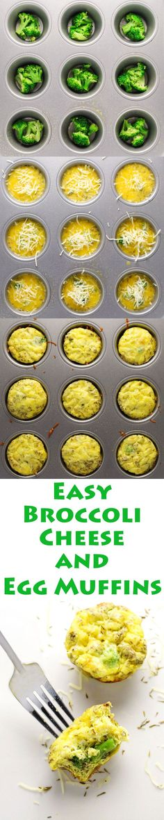 These Broccoli Cheese and Egg Muffins are so easy to make. Just add everything into a muffin tin and bake! This is perfect for breakfast on the go too, since it can be made ahead of time. | http://Tastefulventure.com
