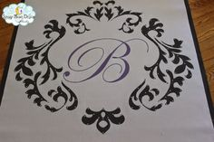 Damask Design Monogram Aisle Runner with Sparkling Crystals #aislerunner, #weddingaislerunners,#customaislerunners www.starrynightdesignstudio.com