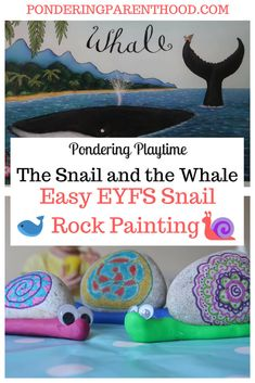 An easy EYFS rock painting activity linked to The Snail and the Whale by Julia Donaldson. Forest School Activities, Eyfs Activities, Nursery Activities, Painting Activities, Spring Activities, Creative Activities, Preschool Activities, Activities For Kids, Holiday Activities