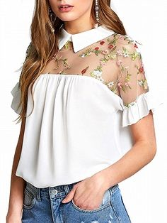 SheIn offers Embroidered Illusion Yoke Ruffle Top & more to fit your fashionable needs. Floral Blouse Outfit, Navy Blouse, Work Blouse, Women's Dresses, Club Dresses, Shirt Blouses, Shirts, Collar Blouse, Casual Tops