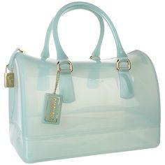 Furla Candy Bag ($175) ❤ liked on Polyvore featuring bags, handbags, purses, cielo, zip purse, zipper purse, green purse, multi color purse and zipper handbags