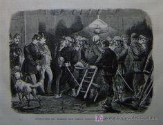GUERRA CARLISTA - DETENCION DE UN COMITE CARLISTA EN ROMA (Arte - Grabados - Modernos siglo XIX)