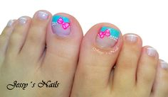 uñas con moños #nailart #pies #moños