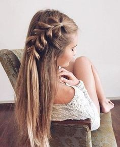 long straight hair + braid + cute hairstyles