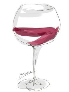 vin rouge 線画・グラスワイン赤 メニューイラスト