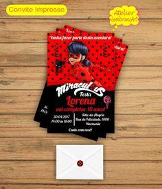 Convite Miraculous Ladybug 7x10 | Atelier LembrançArt | Elo7