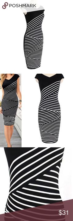 NEW BANDAGE BODYCON SLEEVELESS, SLIM EVENING DRESS 2 XL, This stunning mini pencil  dress is elegant, graceful, suitable for everyone, casual, party, office, material is lace and cotton blend. Multicolored striped.  2XL Dresses Midi