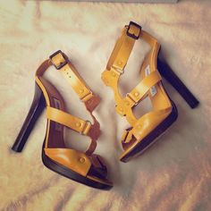 "Jimmy Choo Prize Vachetta Leather Yellow Heels Size 37; Perfect for Summer!☀️ Note: these are freshly cleaned since last worn, though I just realized the cleaner must have used polish that changed to color of the metal ""studs"" to match the leather-therefore I'm discounting them substantially.  They are still super cute and very comfortable for such a high heel! Used to be a favorite pre-mom days!  Jimmy Choo Shoes Heels"
